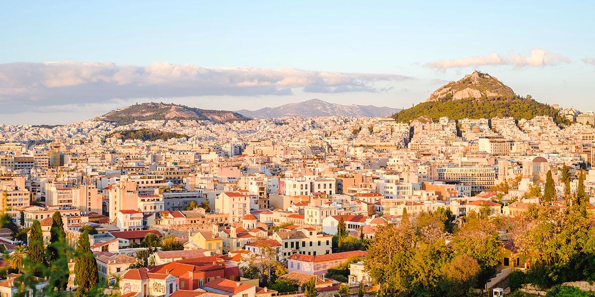 Uitzicht op Athene Stad